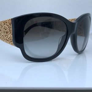 Chanel Women Sunglasses Black Gold Tone Made Italy